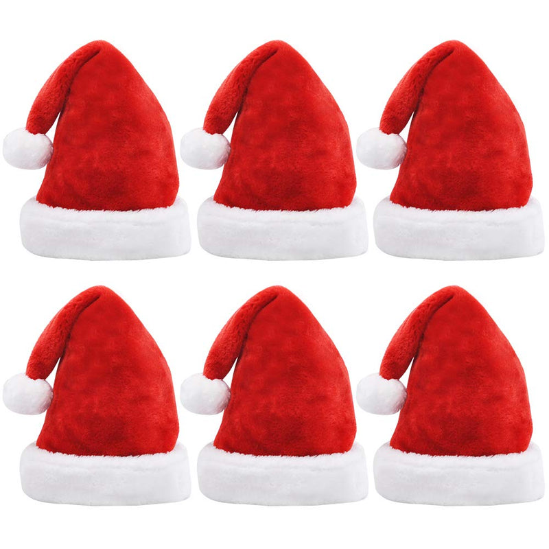 6Pcs Santa Hats with White Plush Trim and Red Velvet