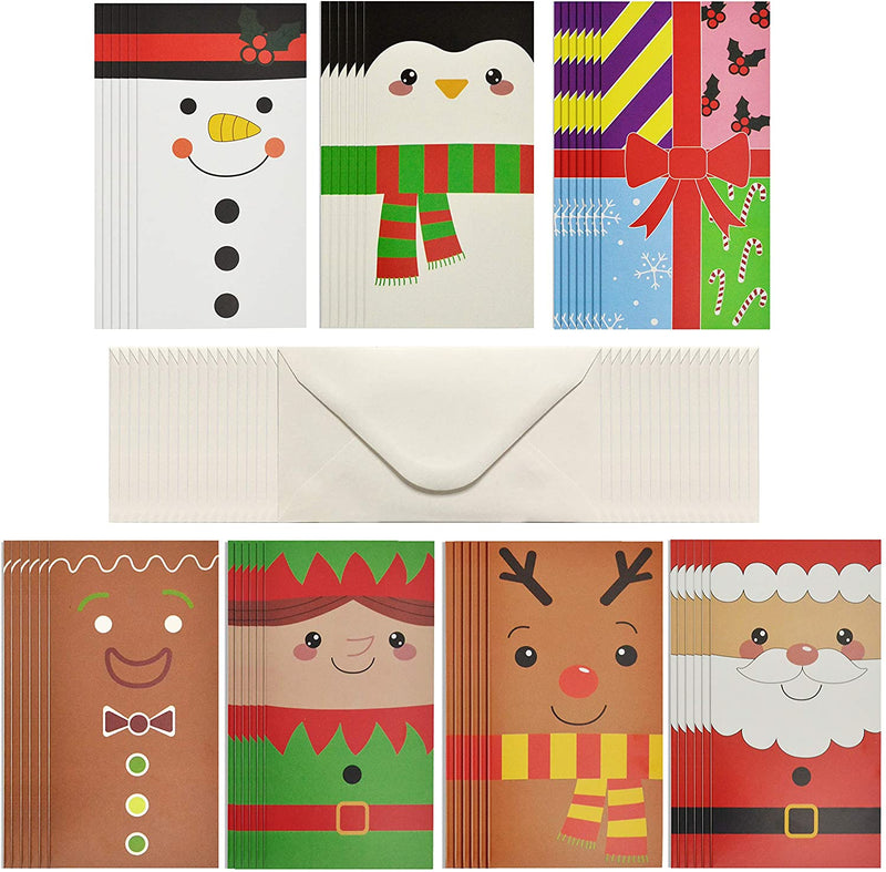 42 Pcs Simple Cartoon Christmas Holiday Greeting Cards