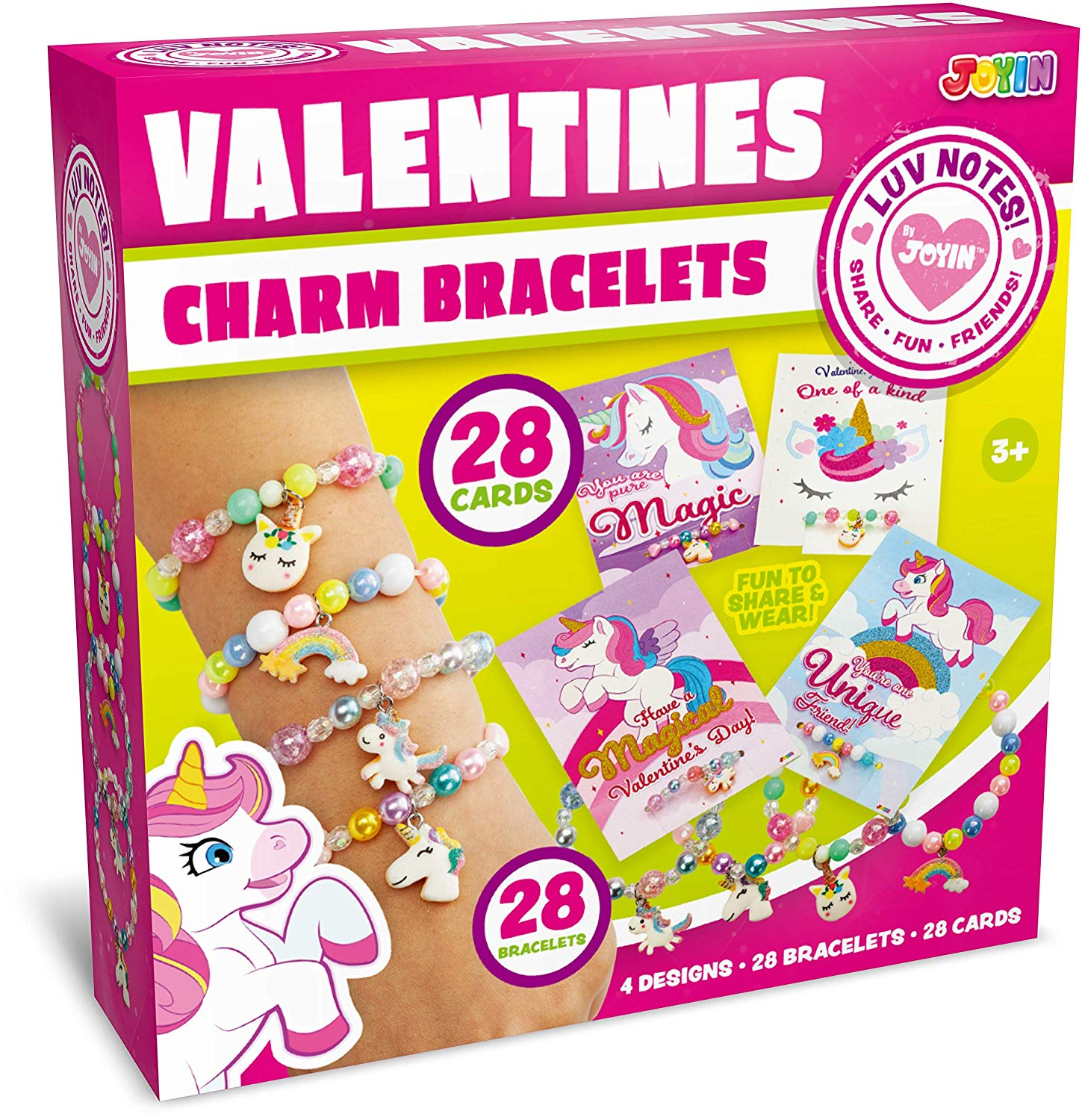 Unicorn Valentines Day Cards with Bracelets