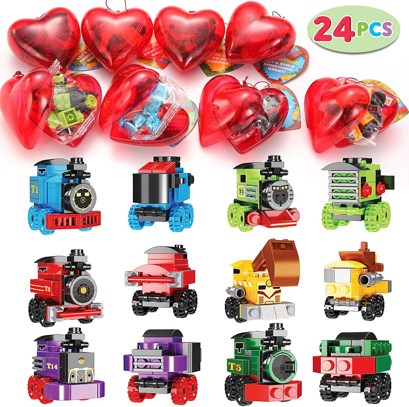 24 Pieces Valentines Day Pre Filled Hearts with Train Building Blocks for Kids