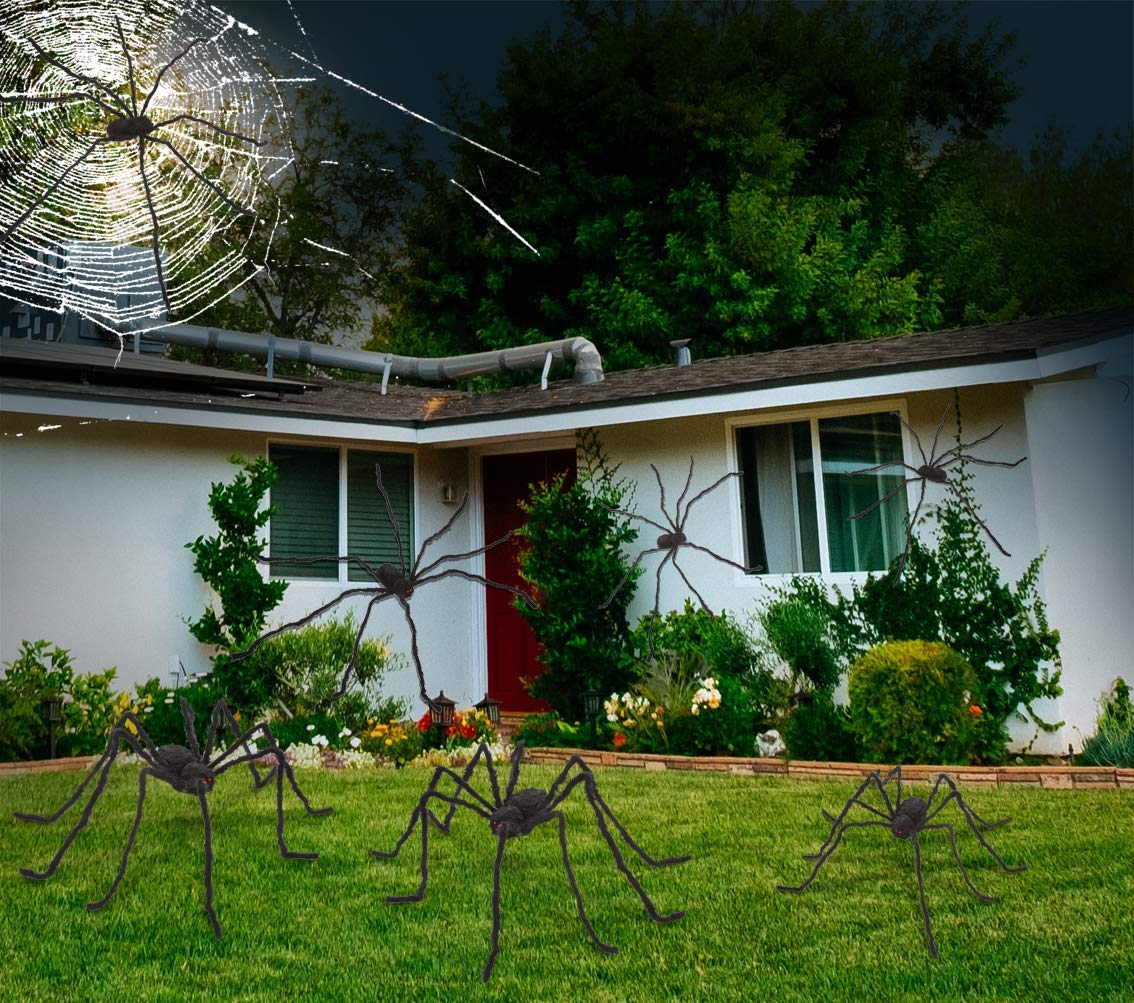 6.5ft Hairy Black Giant Spider for Halloween Outdoor Decorations