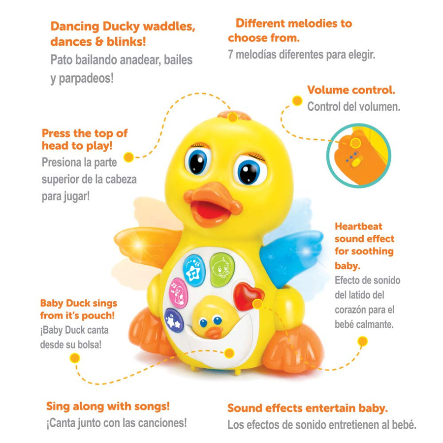 Dancing Walking Yellow Duck Baby Toy with Music and LED Light Up