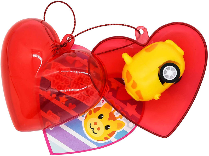 30 Pcs Valentines Day Pre Filled Hearts with Animal Pullback Cars for Kids