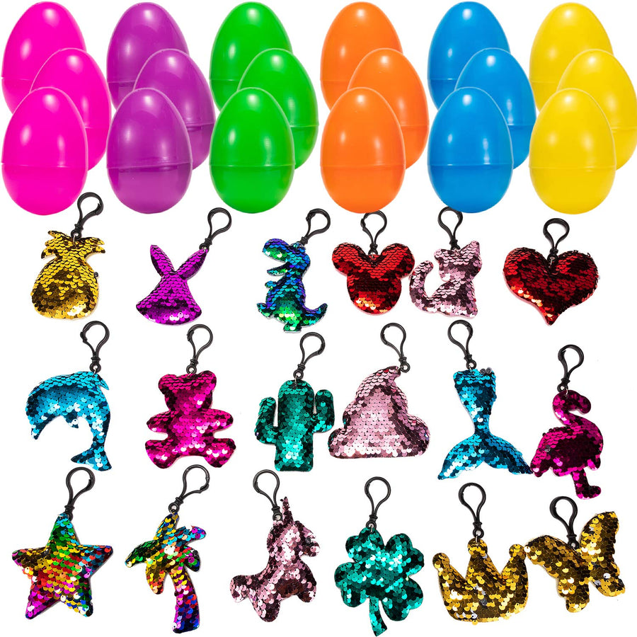 18 Pcs Prefilled Easter Egg with Sequin Keychains
