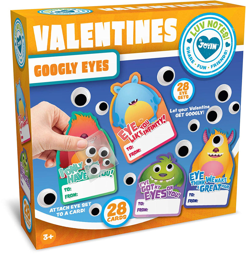 Valentine Cards with Stick-On Monster Googly Eyes