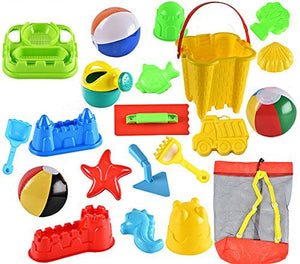 20-Piece Beach Sand Toys Set with Reusable Mesh Backpack