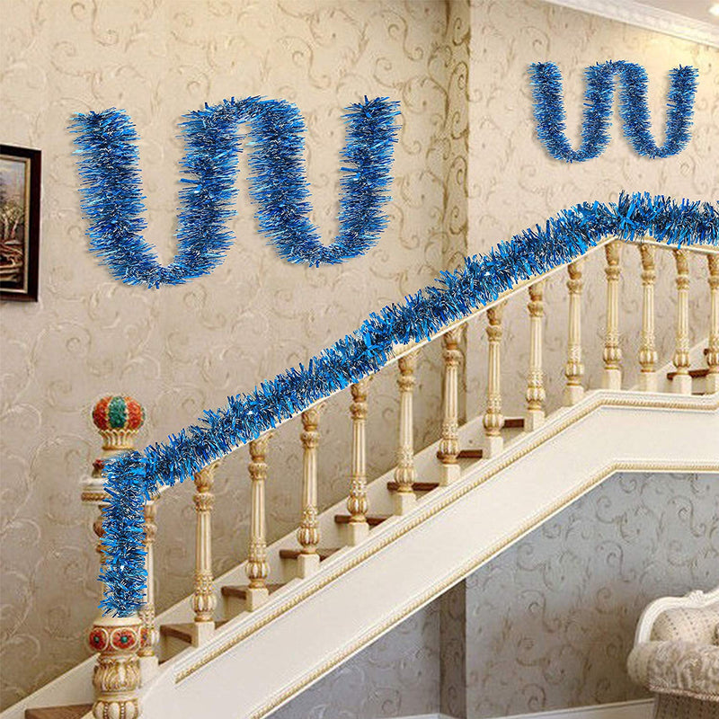 6.6 Ft Christmas Blue Sparkly Tinsel Garland