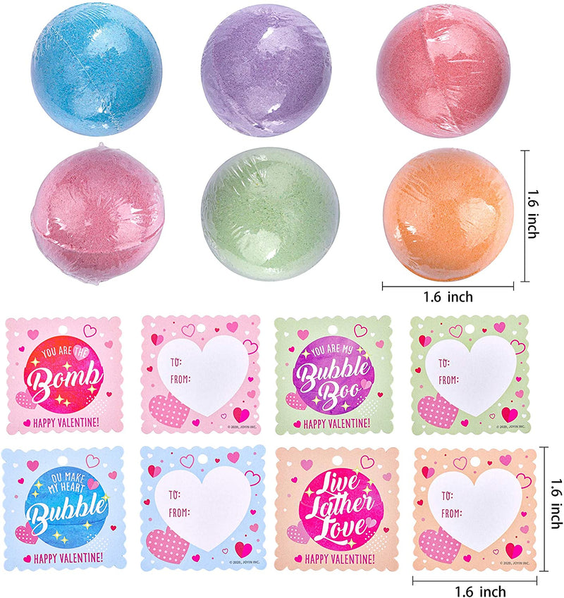18 Packs Valentine's Day Bath Bomb Ball with Tags