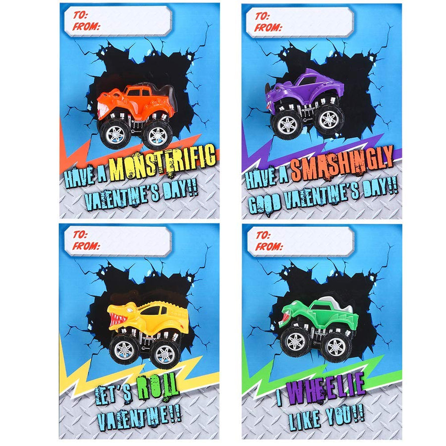 Valentine Gift Cards With Pull Back Monster Truck