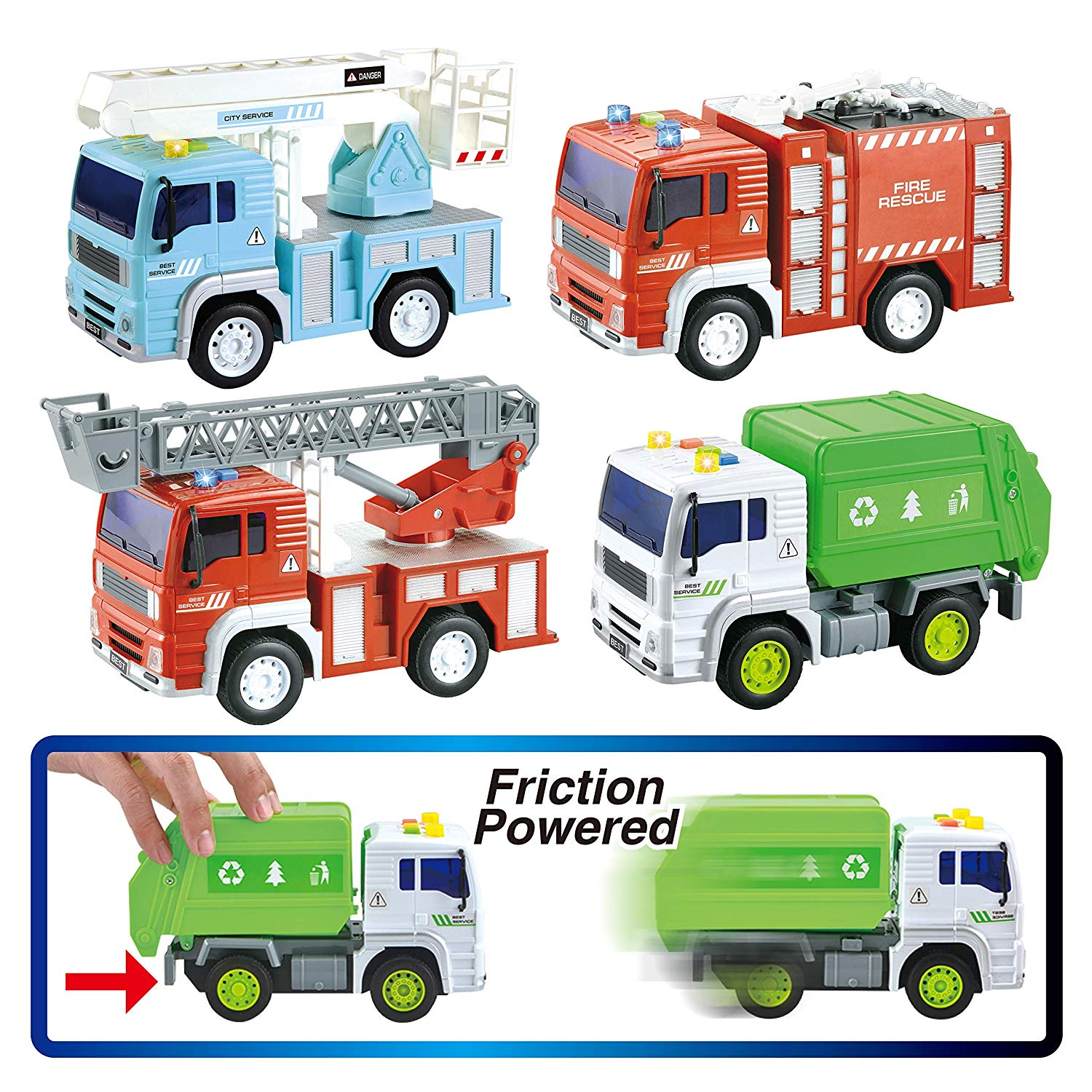 4 Pack Friction Powered City Vehicles