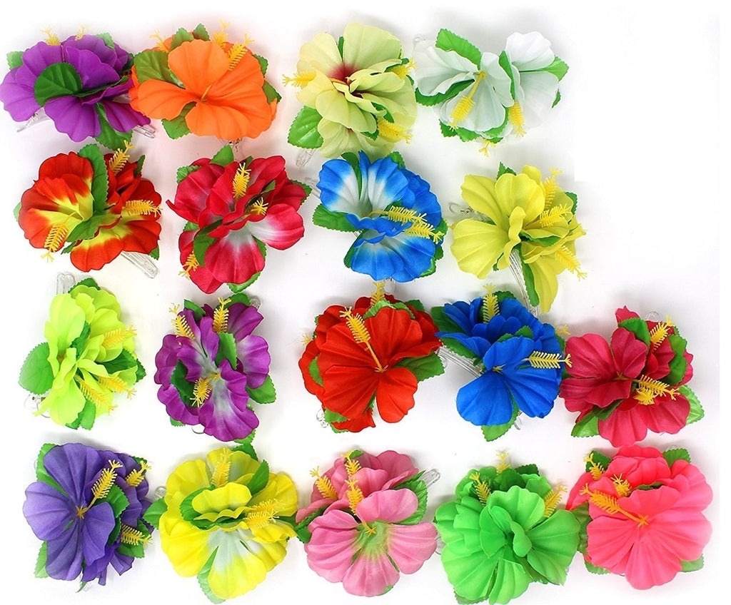 Hawaiian Luau Flower Lei Hair Clip Set