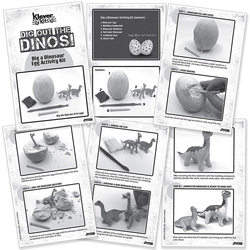 12 Piece Dino Egg Dig Kit and Clay - Archaeology STEM Learning