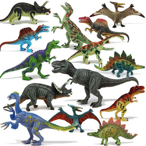 Realistic Dinosaur Figures with Movable Jaws, Set of 14