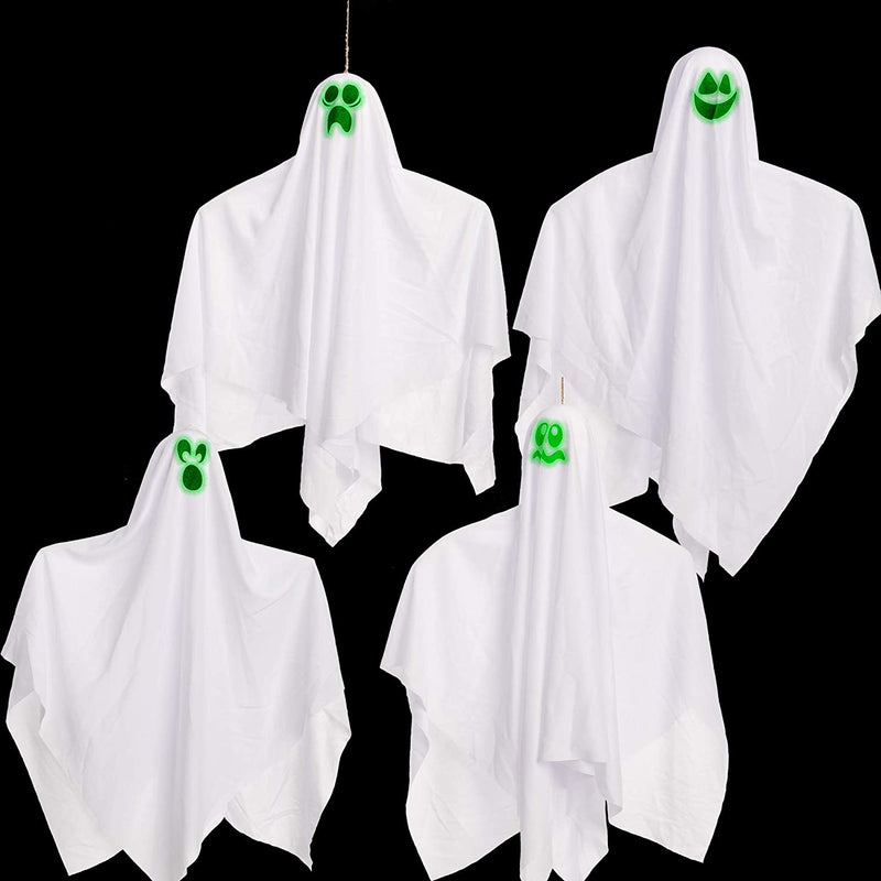"27.5"" Halloween Hanging Ghosts, 4 Pack"