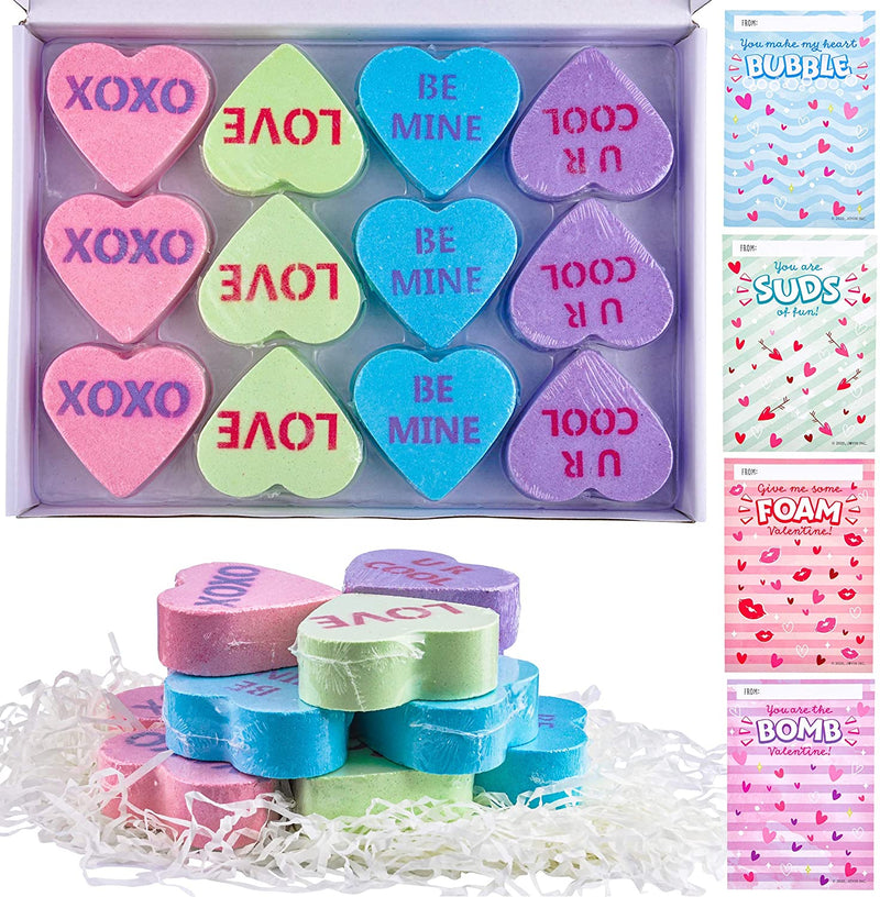 12 Packs Valentine's Day Heart Shape Bath Bomb with Cards