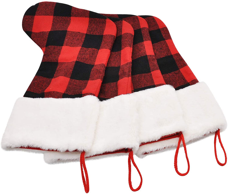 4 Pcs Buffalo Plaid Christmas Stockings