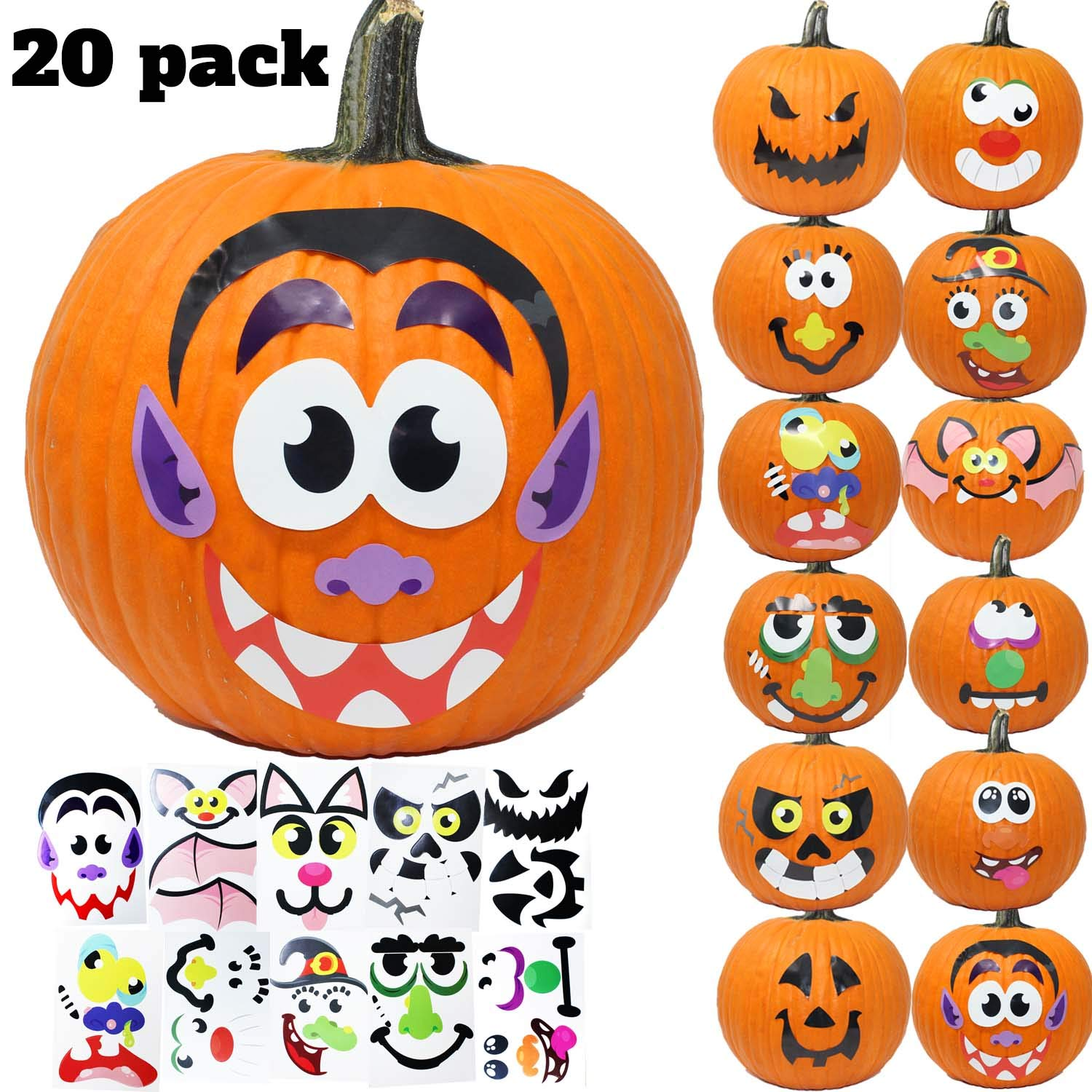 Pumpkin Decoration Stickers, 20-Pack