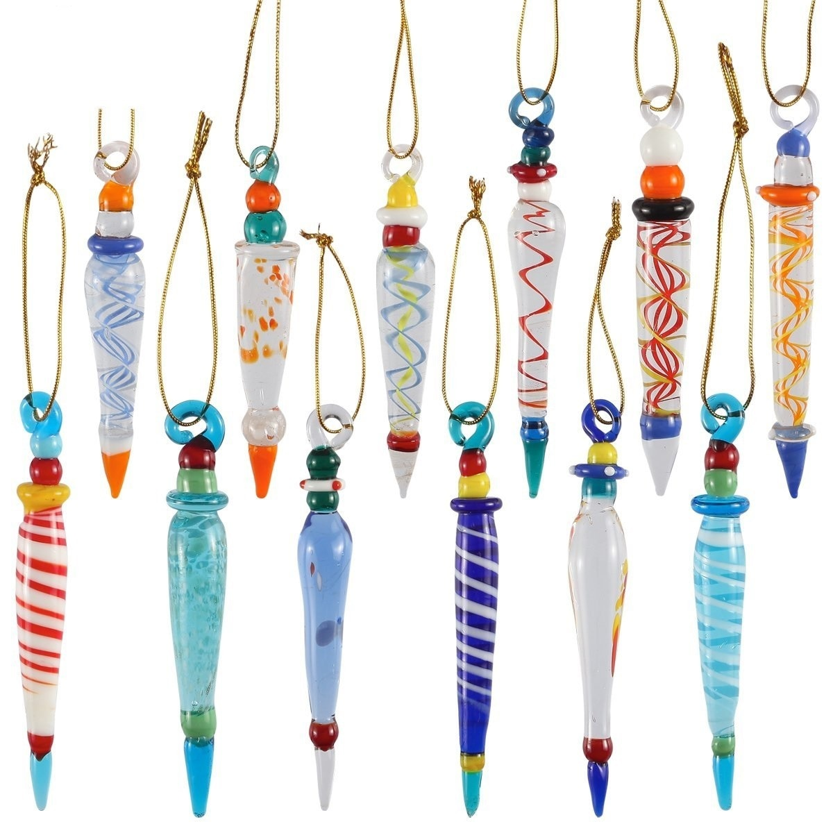 Set of 12 Colorful Glass Icicle Ornaments for Christmas Tree ...