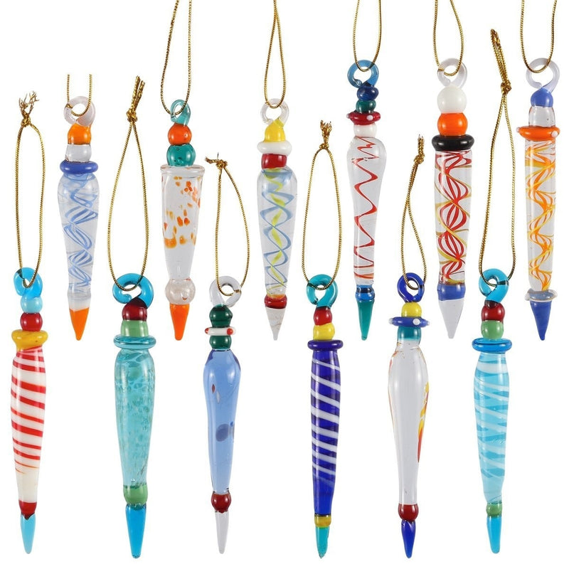 Set of 12 Colorful Glass Icicle Ornaments for Christmas Tree Decorations with Different Designs