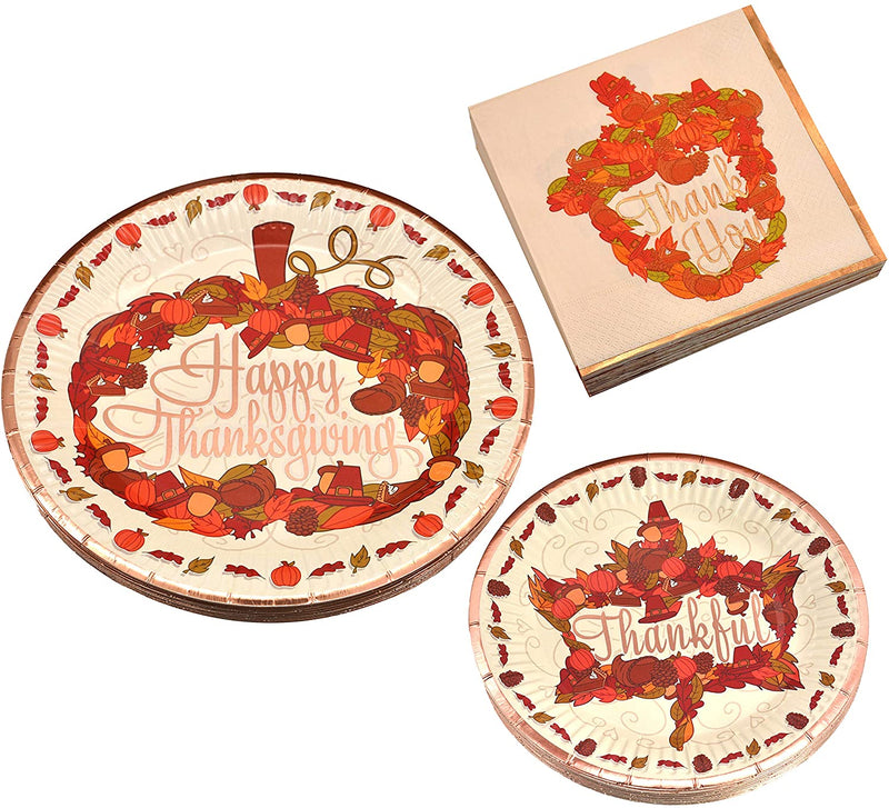 Thanksgiving Disposable Dinnerware Set for 24 guests