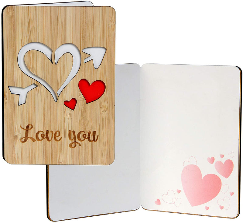 Valentines Day Card I Love You Card Handmade With Real Bamboo Wood