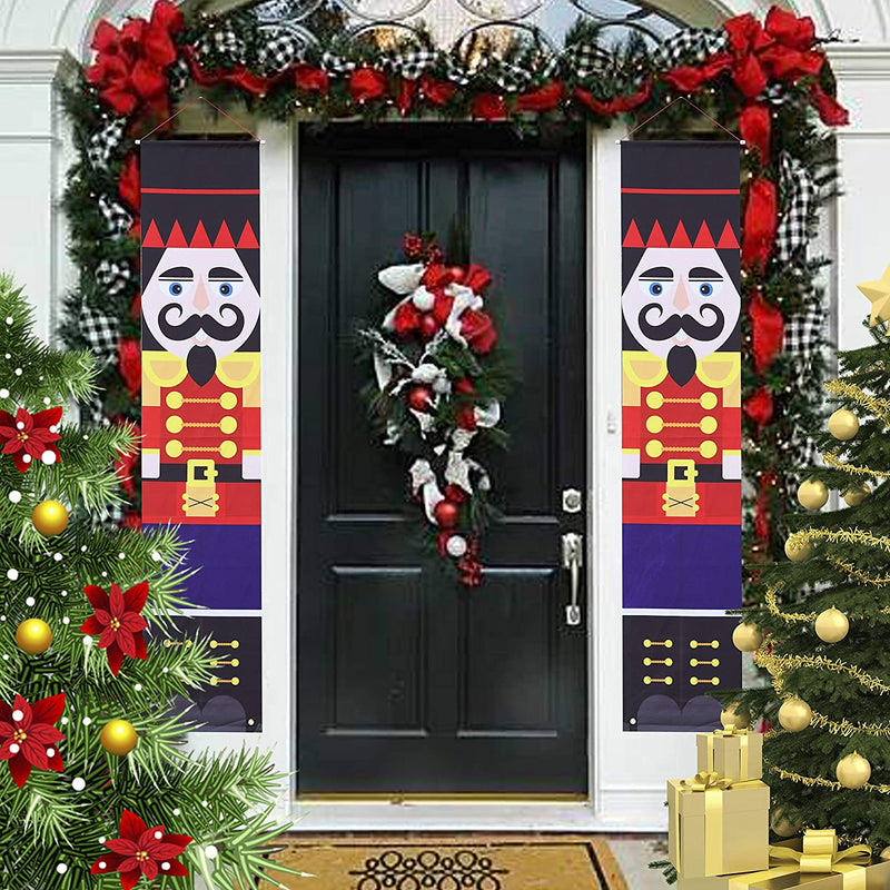 Christmas Nutcracker Hanging Door Banner for Yard