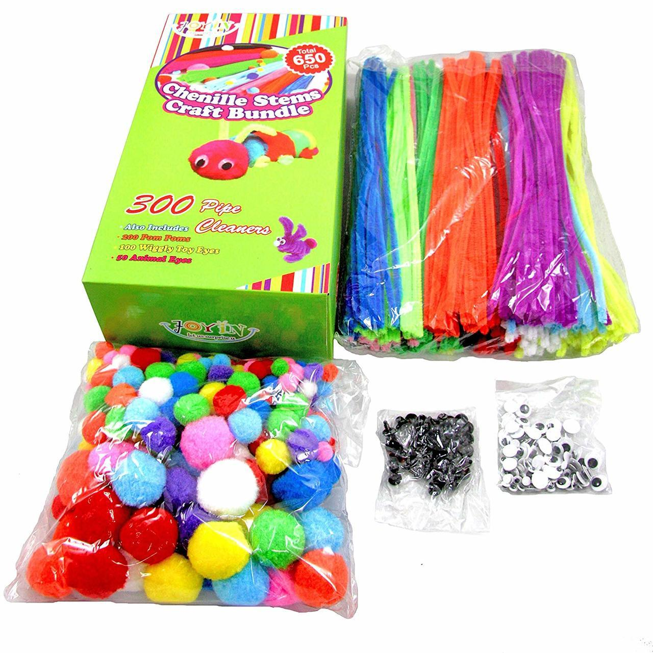 Craft Pipe Cleaners Chenille Stems Bundle, 650-Piece Set