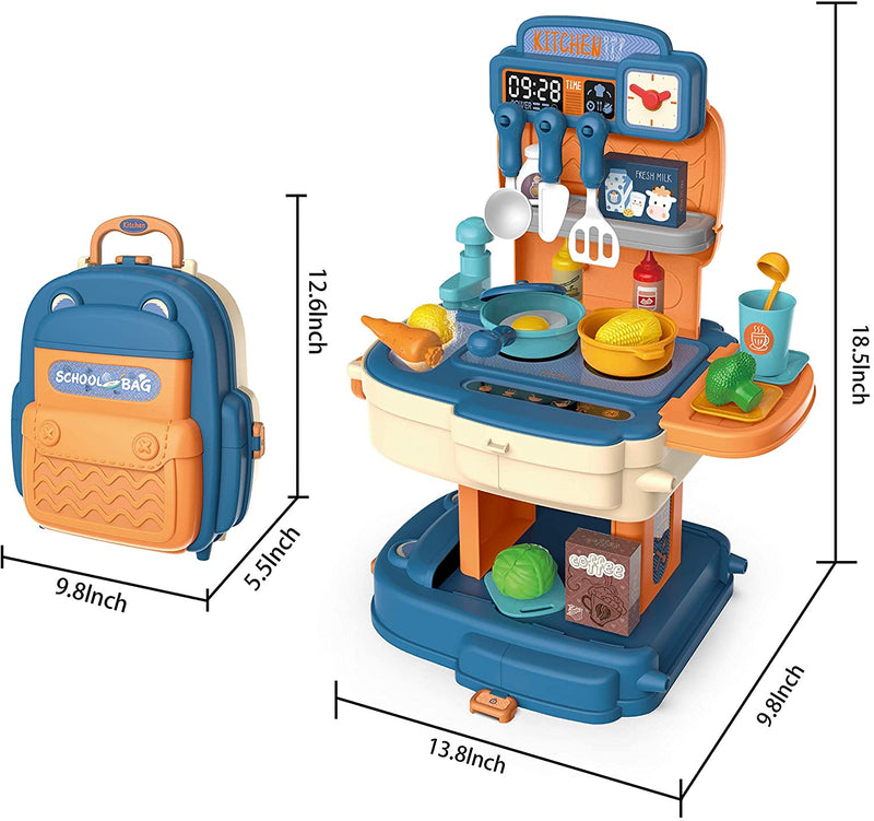 Little Kitchen Pretend Playset with Portable Backpack
