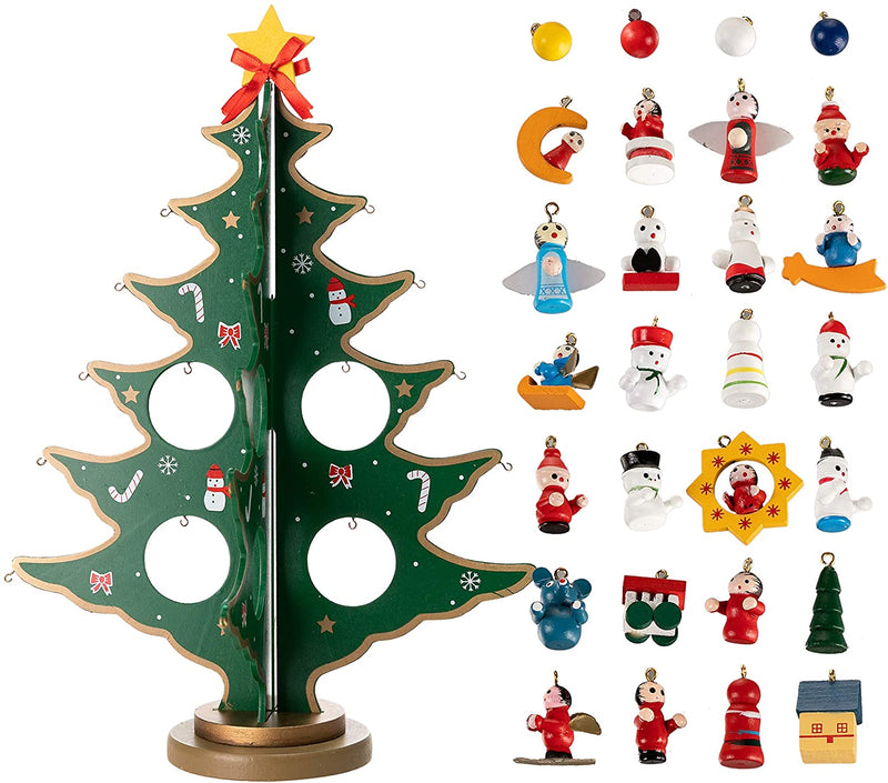 Advent Calendar with a Tabletop Wooden Christmas Tree