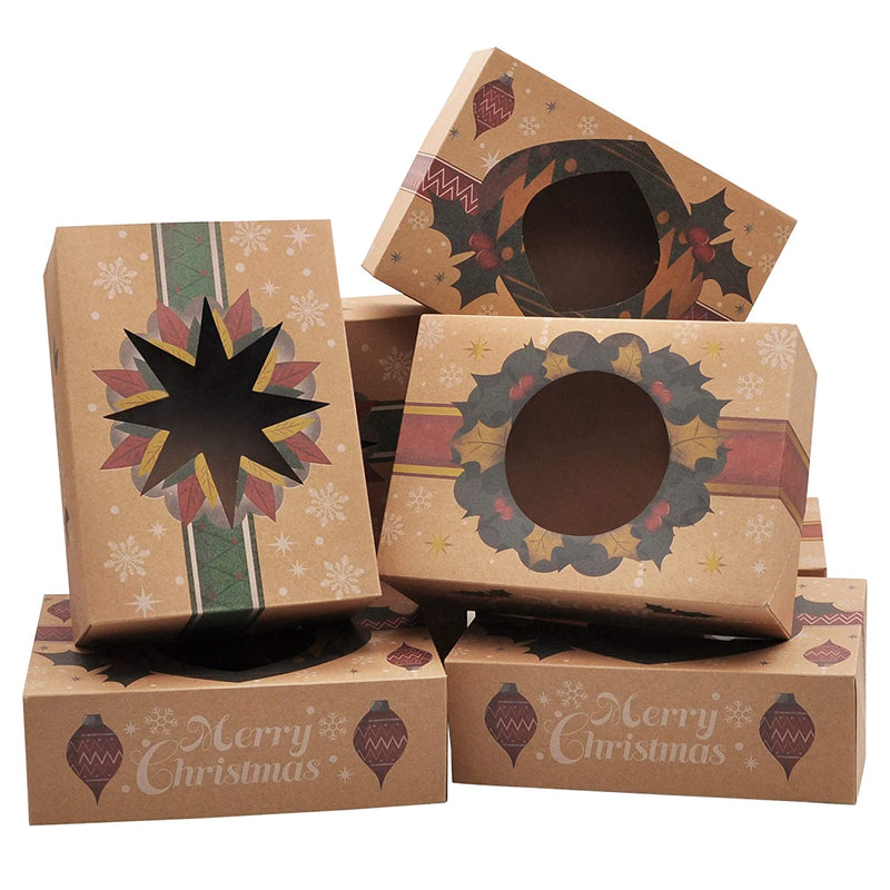 24 pcs Foiled Kraft Christmas Cookie Boxes with Window