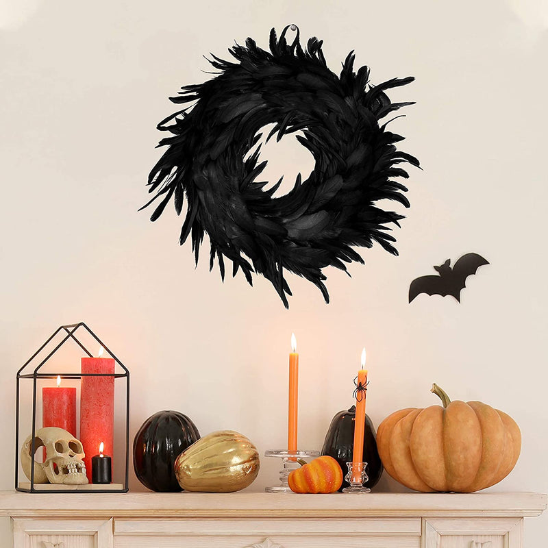 Natural Feathers Wreath in Black