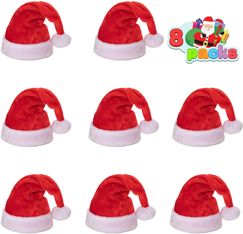 8 Pcs Premium Christmas Santa Hats