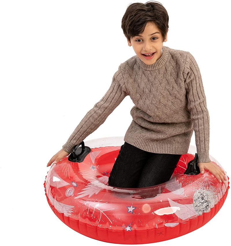 "34"" Inflatable Transparent Snow Tubes, 2 Packs"