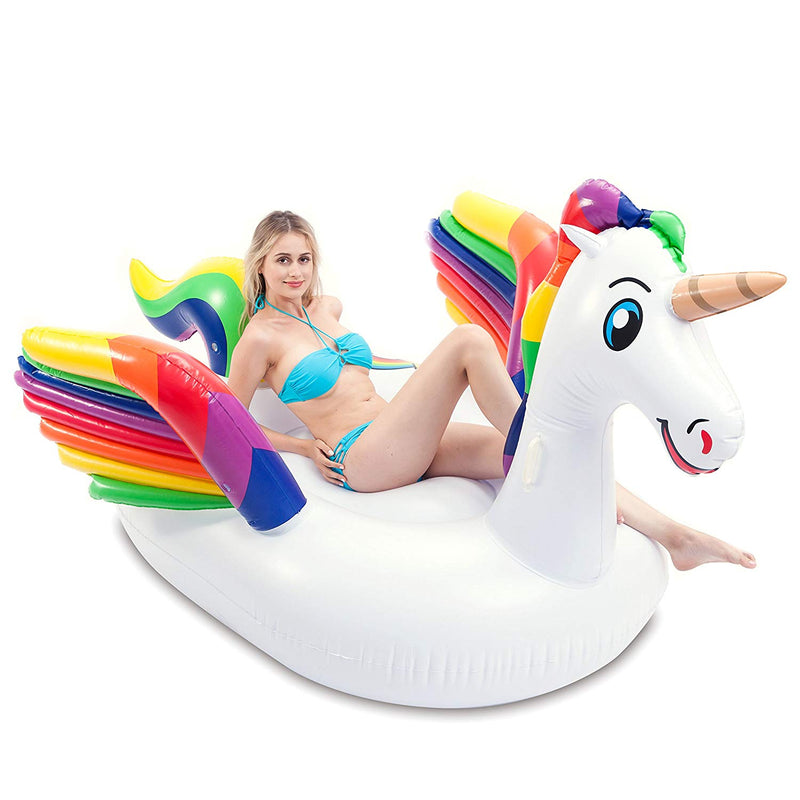 Giant Inflatable Unicorn Pool Float with Wings