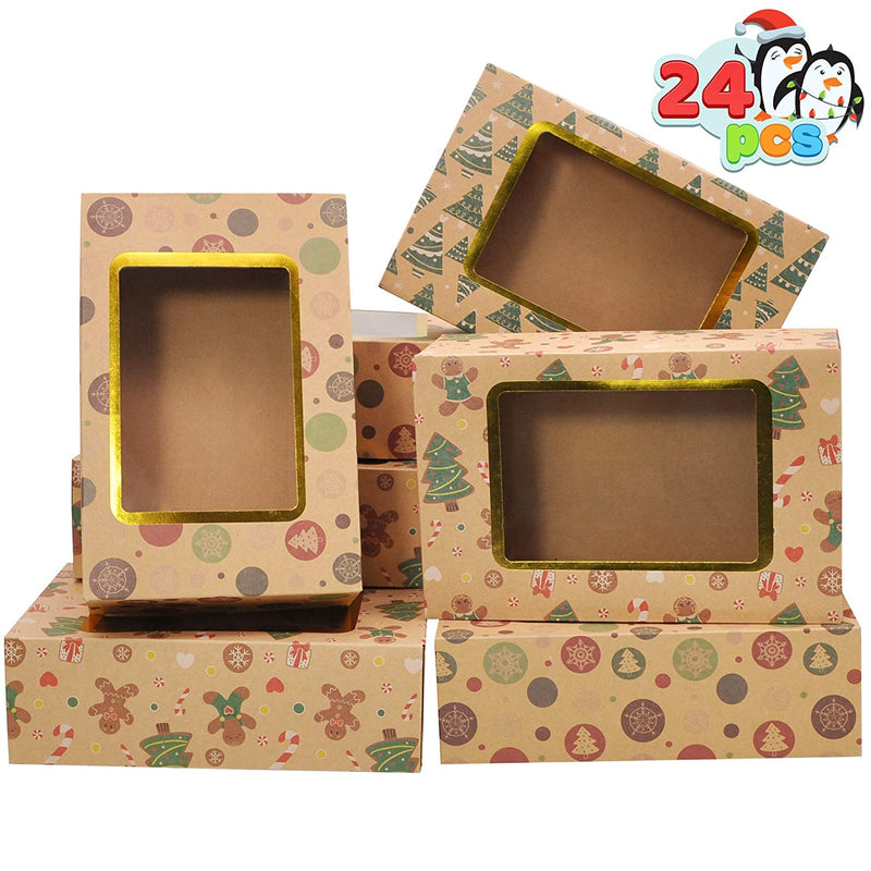 24 pcs Foiled Christmas Cookie Boxes with Window