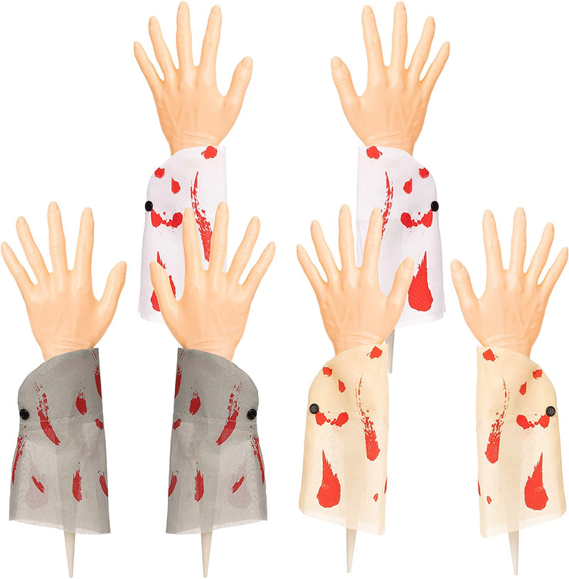 3 Pairs Realistic Zombie Arm Stakes with Blood Stain