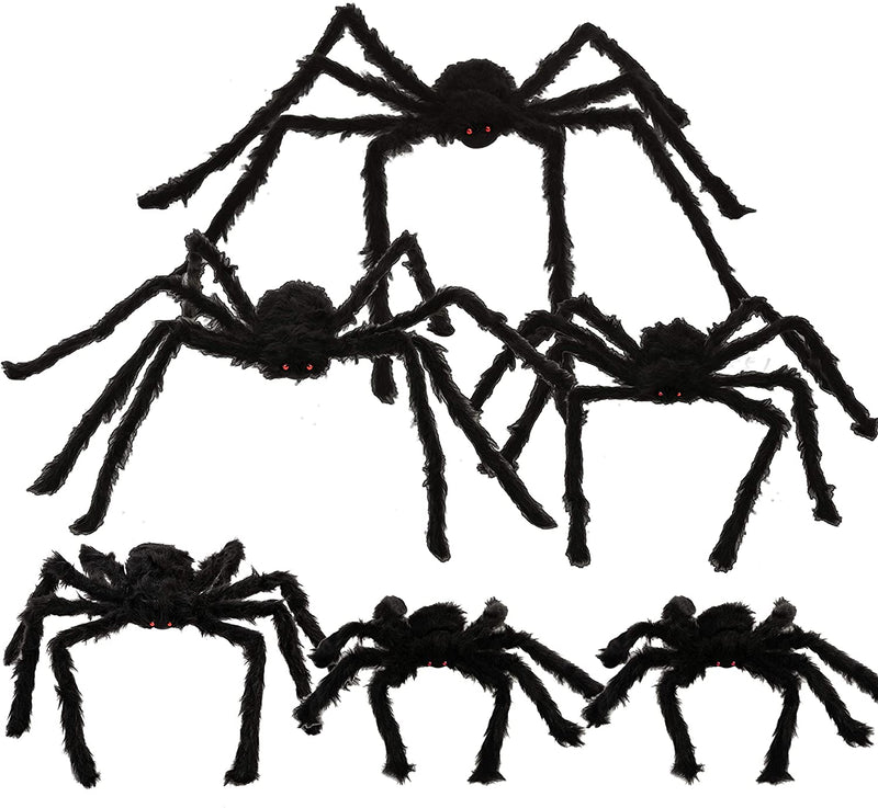 6 Pack Halloween Realistic Hairy Spiders Set