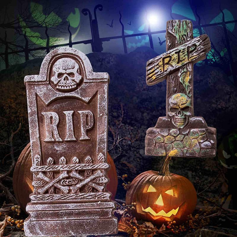 Realistic Foam Tombstones and Stands, 5-Pack