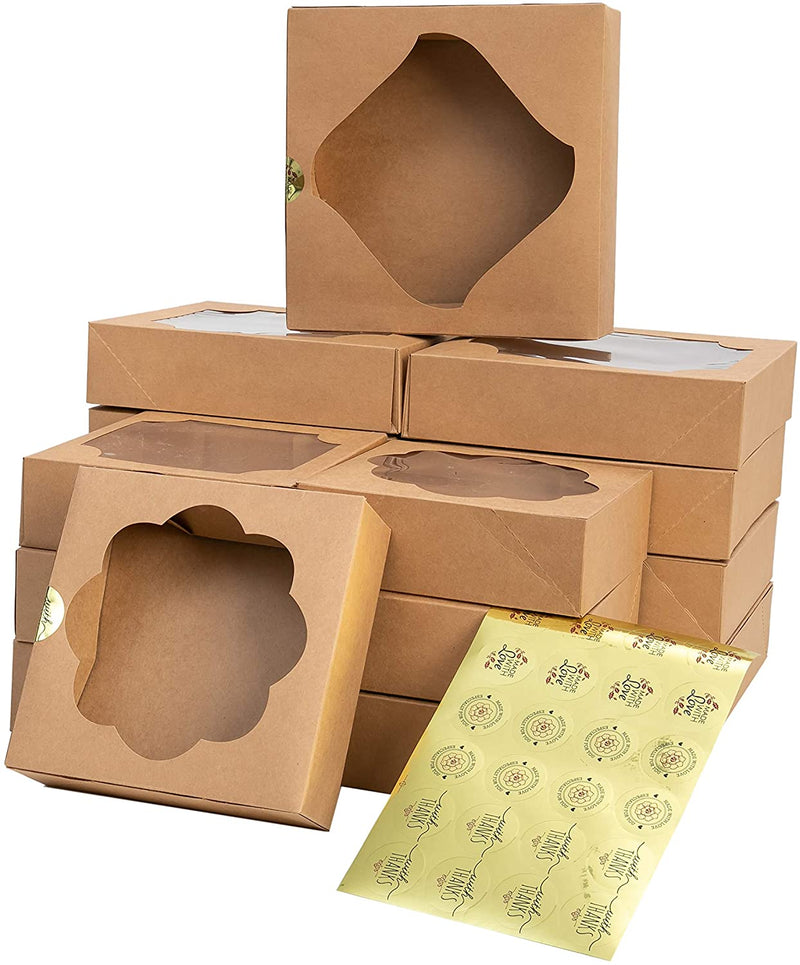15 Pcs Kraft Bakery Boxes with Stickers