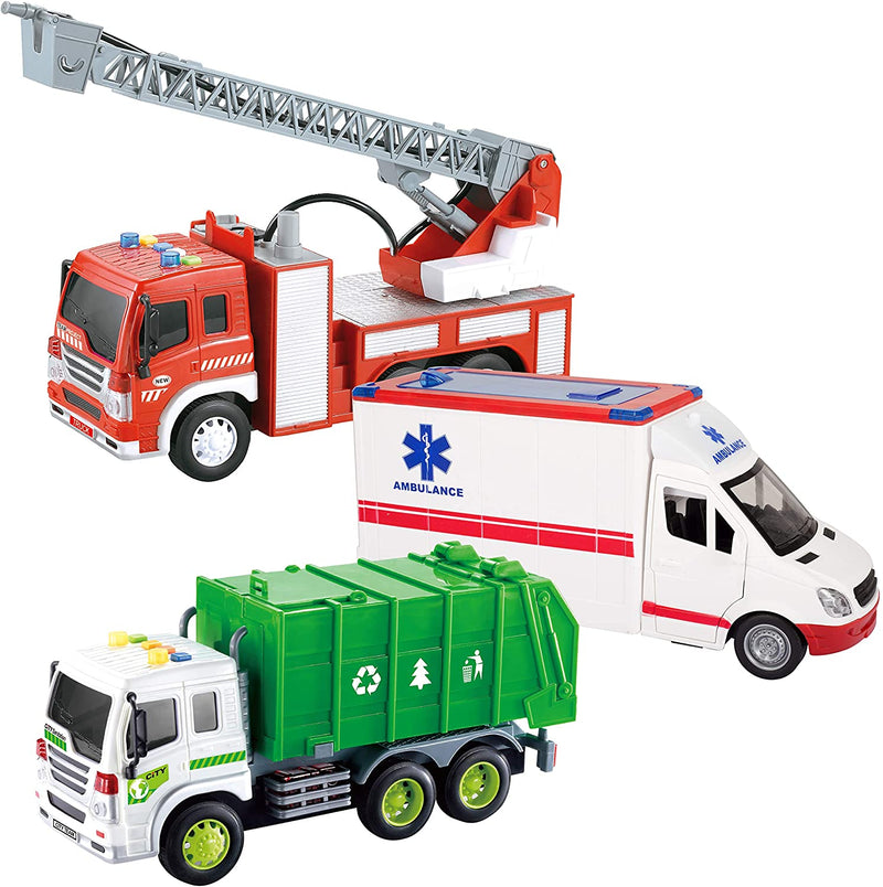 Big Friction Powered City Play Vehicle Toy Set