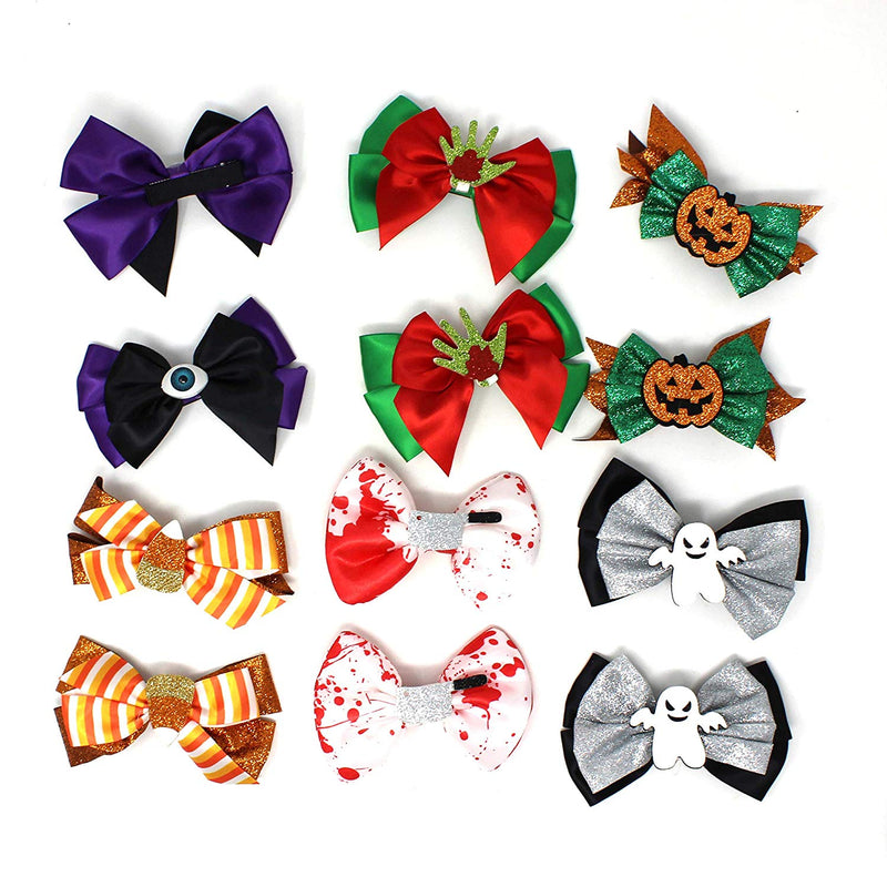 GIRLS HAIRPIN HAIR BOW CLIP HAIR DECORATIONS FOR PARTY SUPPLIES (12 PACK)