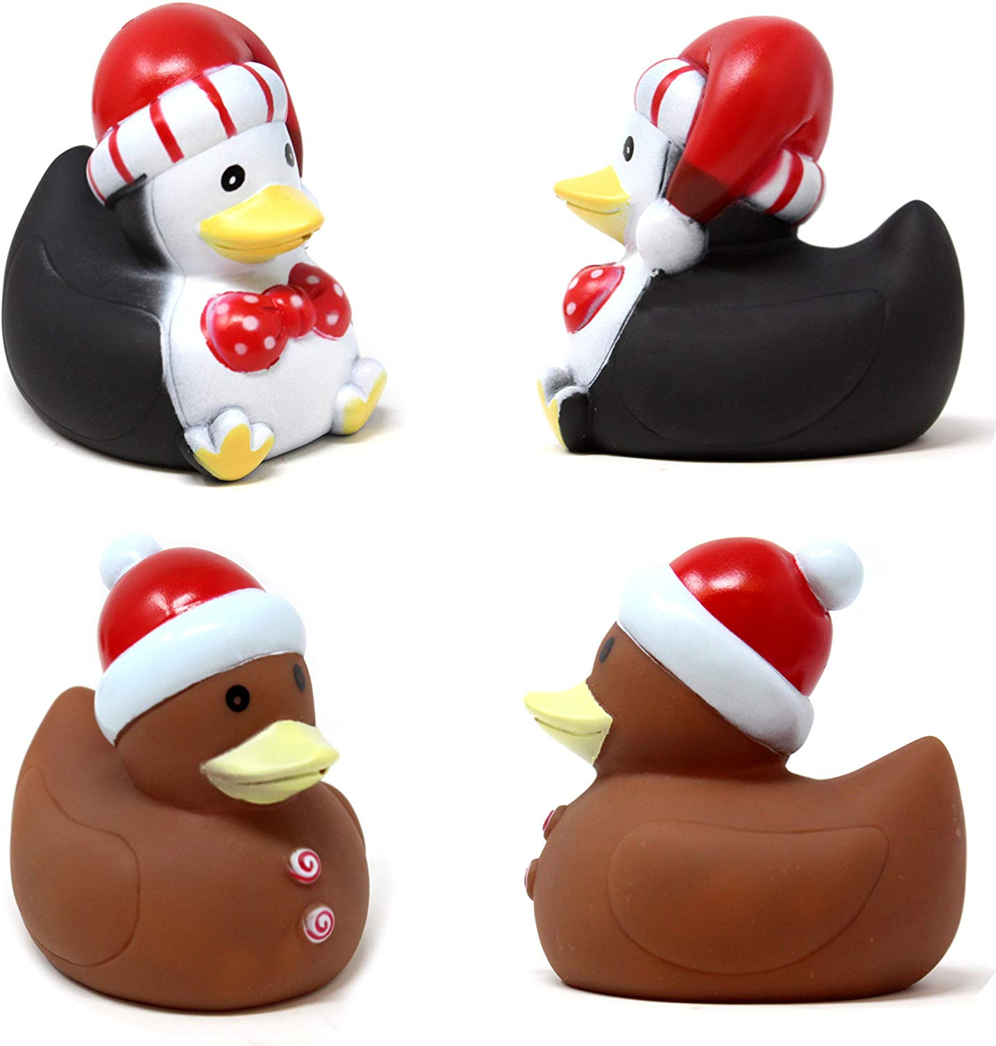 "3"" Christmas Holiday Character Rubber Ducks for Fun Bath Squirt Squeaker Duckies"