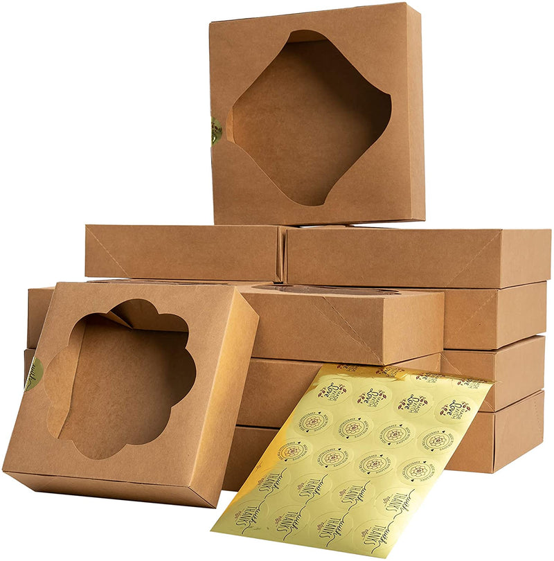 24 Pcs Kraft Bakery Boxes with Stickers