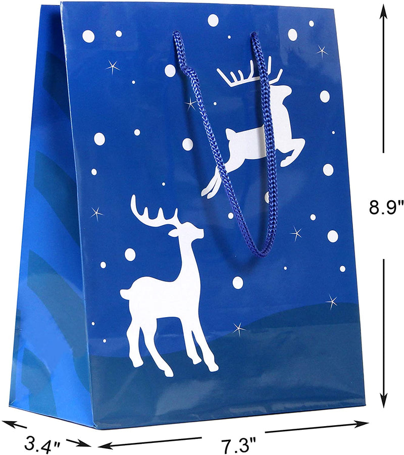 20 Pcs Christmas Holiday Blue Paper Gift Bags