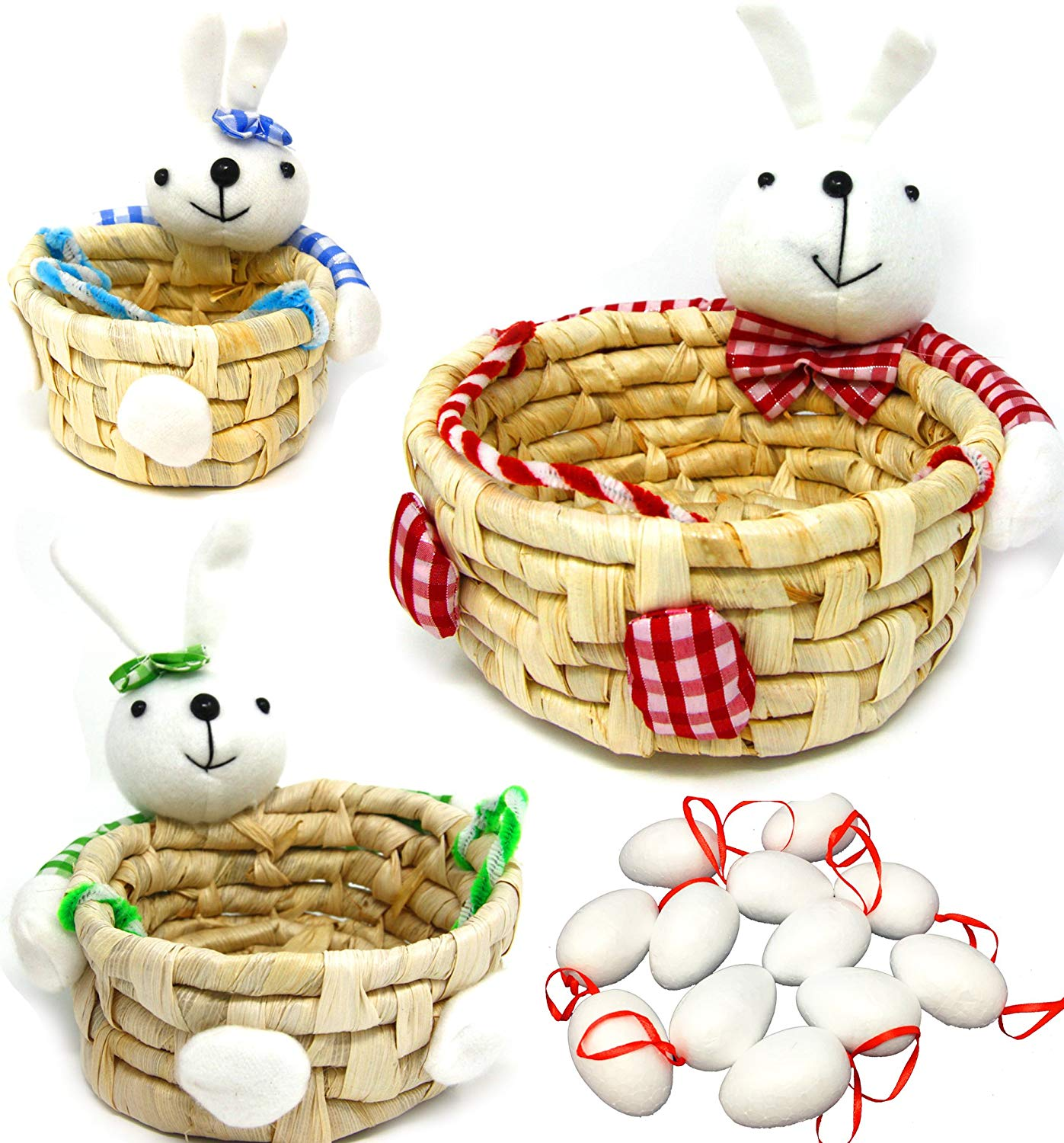 3 Pack Bunny Shape Easter Basket with 12 White Blank Foam Easter Eggs