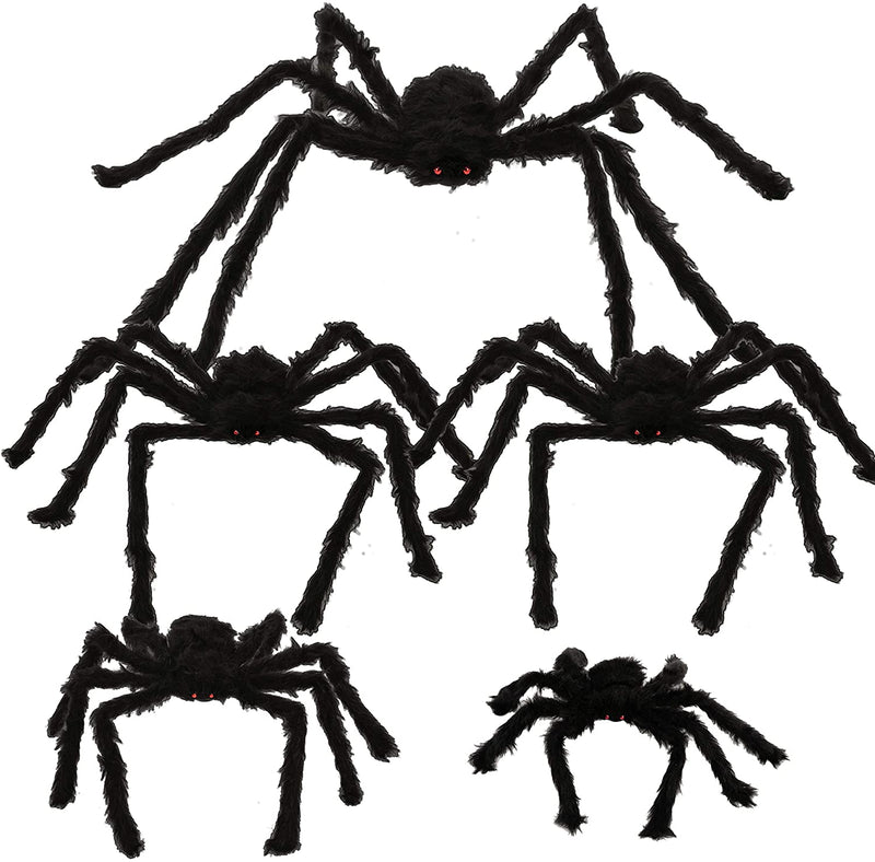 5 Pack Halloween Realistic Hairy Spiders Set