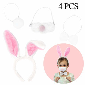Bunny Headband Set includes Headband, Nose, Bow Tie, and Tail