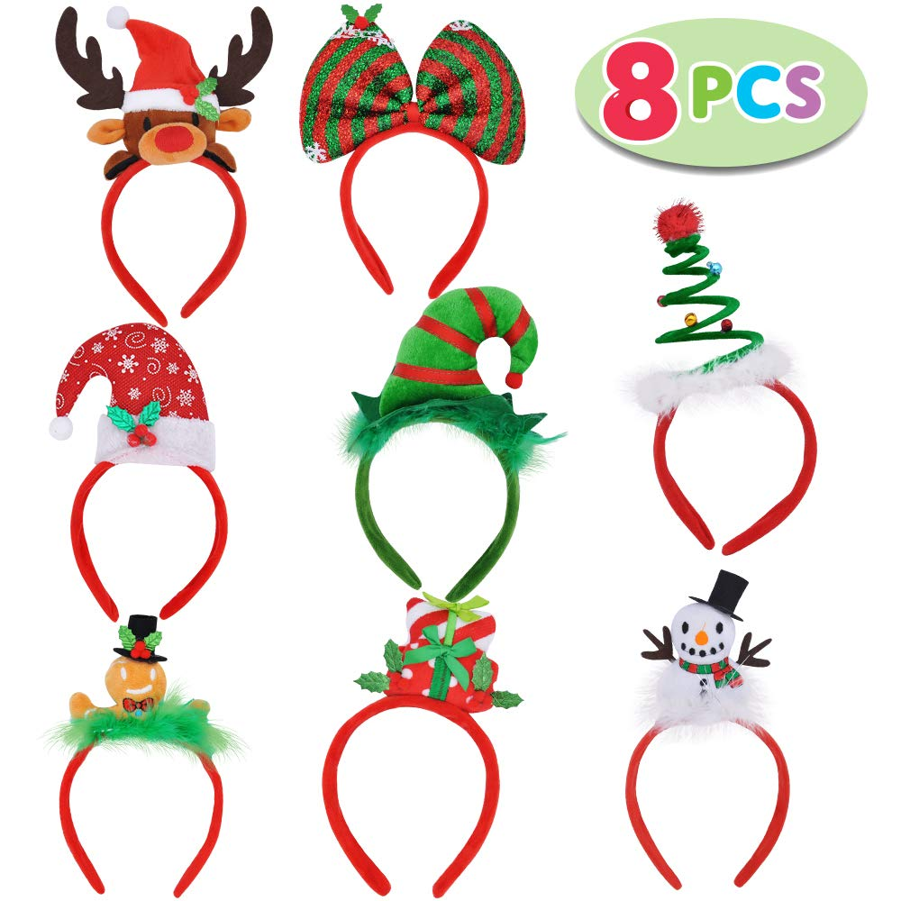 8 Christmas Headbands with Assorted Design