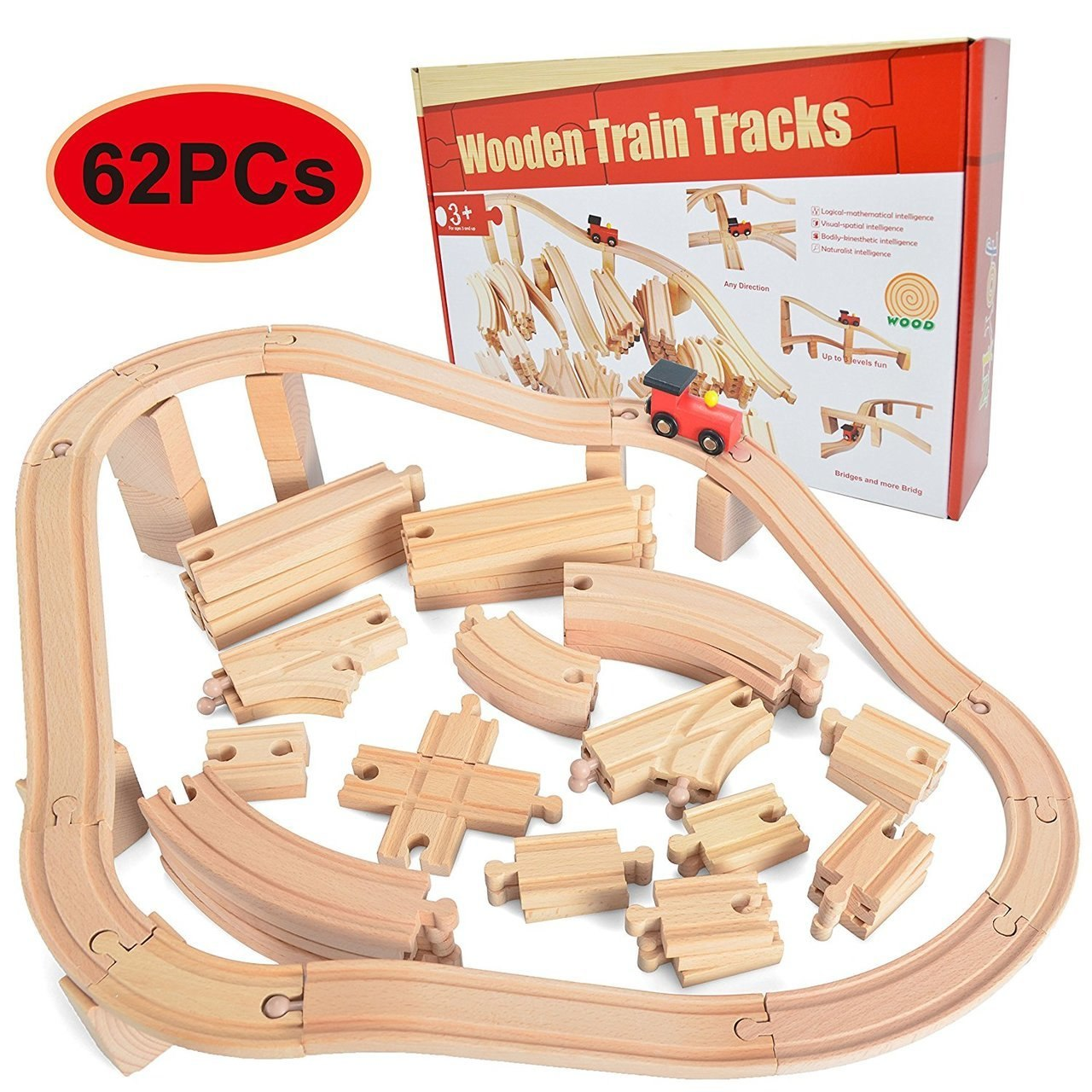 Wooden Train Track Set 62-Piece Set
