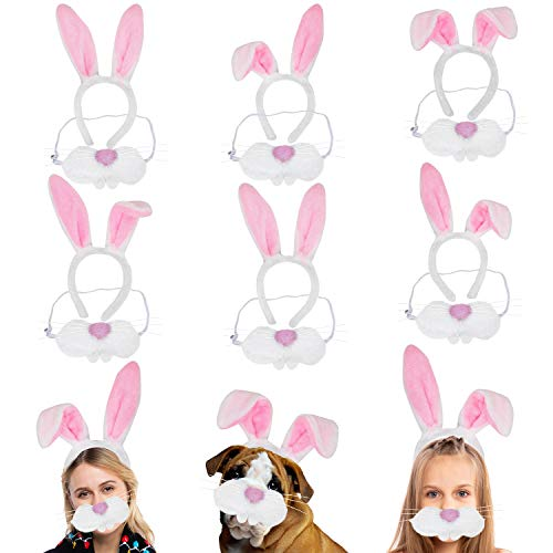6 Packs Bunny Nose and Ears Headband Kit